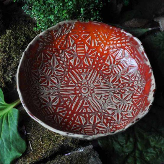 miska czerwona mandala ceramika artystyczna polska