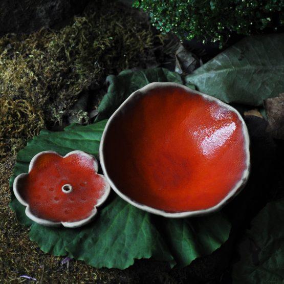 zestaw ceramiczny ręcznie robiony miski czerwone na prezent