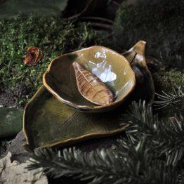 talerz liść z miską komplet na sushi w brązach i zieleniach