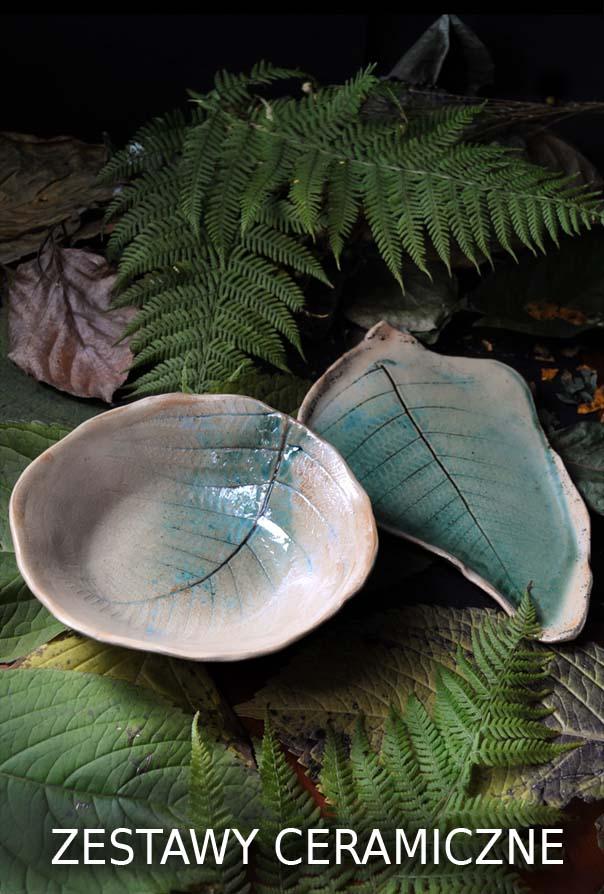 zestawy do sushi talerze liście z miskami ceramiczne ręcznie robione