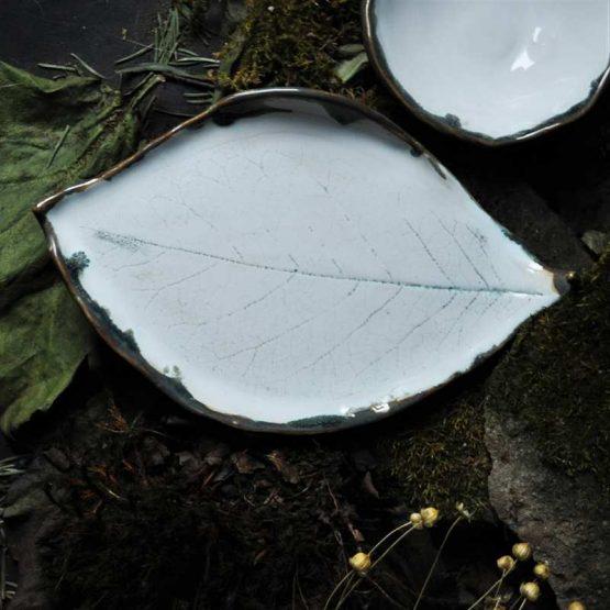 komplet ceramiczny rękodzieło talerz liść z miską