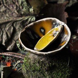 miska dna glinki ze szpatułką oliwka efekt rajski ptak