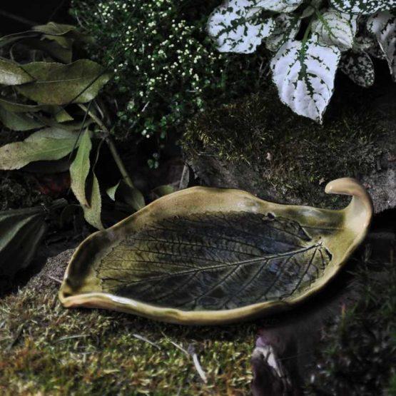 ceramiczna mydelniczka liść zielony na pierścionki