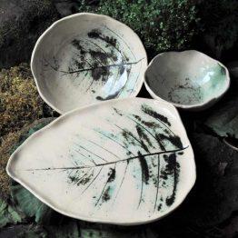 ceramiczny komplet miski i talerz liść