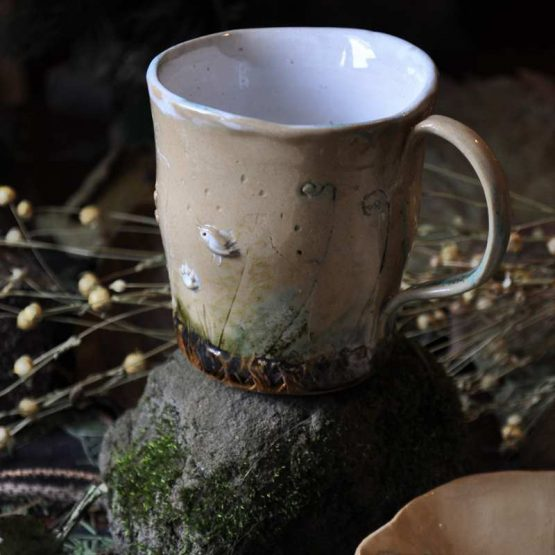 kubek z ptaszkami rękodzieło arteliu sklep z ceramiką artystyczną