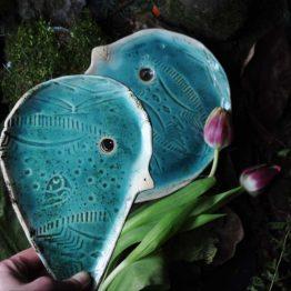 ceramiczne patery ptaki turkusowe rękodzieło