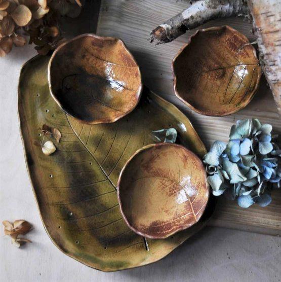 ceramiczna patera liść paproci zestaw na sushi artystyczny elius art