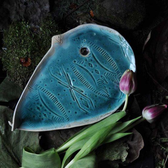 polmisek turkusowy w ksztalcie ptaka ceramika arteliu