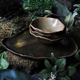 patera liść paproci z miskami rękodzieło ceramika artystyczna