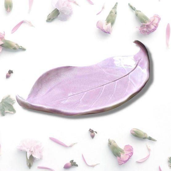 ceramiczna mydelniczka rękodzieło stojąca różowa
