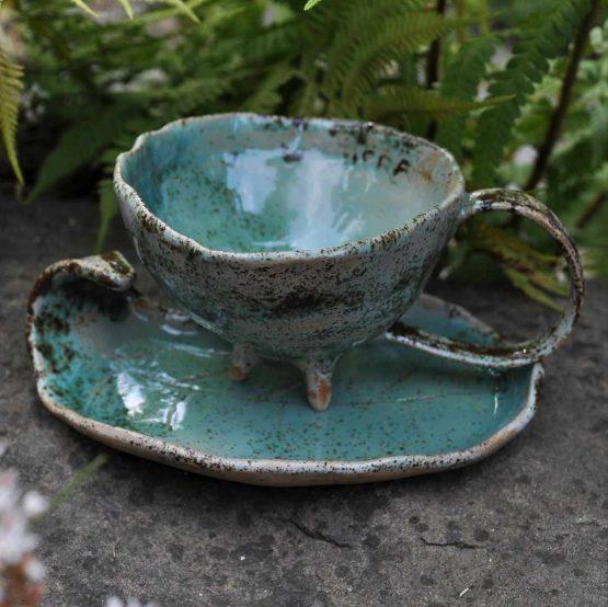 ceramiczna filiżanka espresso handmade turkusowa rękodzieło