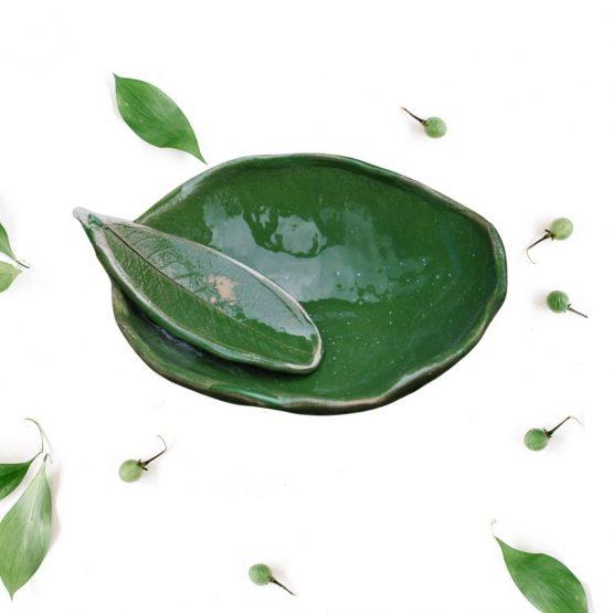 ceramiczna miseczka do maseczek zielona ze szpatułką