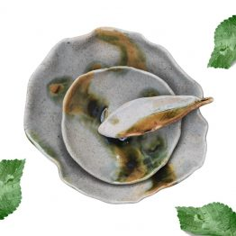 miski ceramiczne artystyczne ręcznie robione szare z brązowym i zielonym