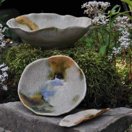 ceramiczne miski rękodzieło artystyczne szary zielony brąz