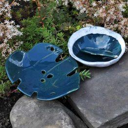 ceramiczny komplet łazienkowy z mydelniczką liść oraz miską na glinki