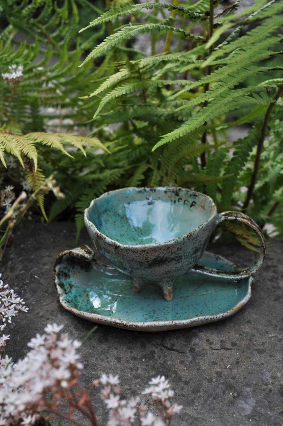 filiżanka ceramiczna do espresso ręcznie robiona turkus błękitna