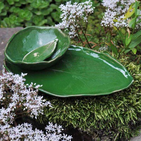 ceramiczny zestaw do sushi zielony liść rękodzieło artystyczne