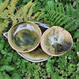 zestaw ceramiczny do sushi rękodzieło zielony