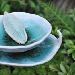 ceramiczny zestaw łazienkowy artystyczny z mydelniczką turkusowy