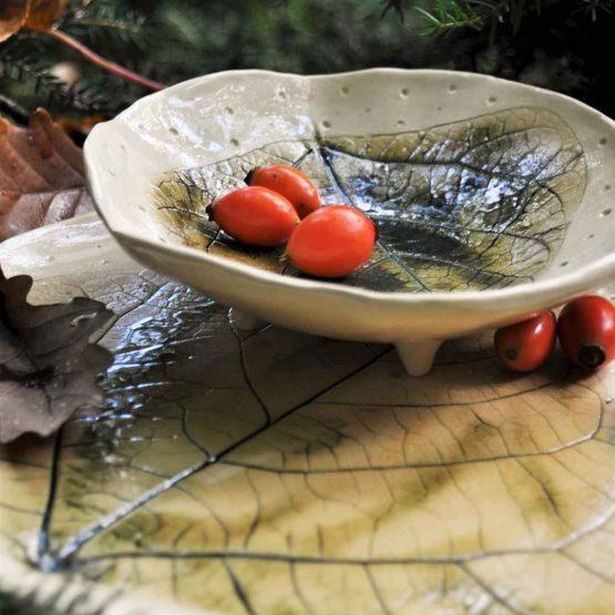 ceramiczny zestaw artystyczny rekodzielo miska z talerzem lisc brazowy zielony elius art arteliu miska na nóżkach,ceramiczny zestaw artystyczny,zestaw ceramiczny do sushi,zestaw prezentowy dla niej,zestaw prezentowy dla mamy
