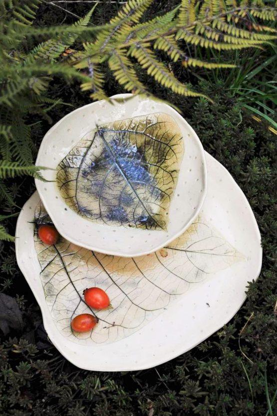 zestaw artystyczny miska i talerz ceramika rękodzieło ręcznie robiona
